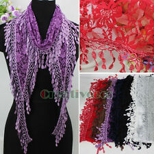NewTrendy Fashion Stylish Rose Floral Tulle Lace Trim Tassel Soft Long Scarf