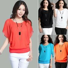 Korean Fashion Women's Loose Chiffon Tops Short Sleeve Shirt Casual Blouse