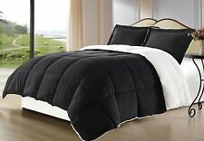 Black Blanket Reversible 3-piece Comforter Set King Queen Bed Bedding Bedroom