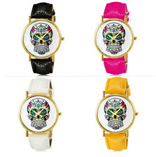 Super Cool Skull Gothic Leather Girl Lady Women Wrist Watch Analog Quartz