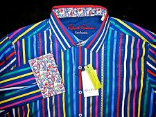 Robert Graham MACAW Multi-Colored Striped Shirt Embroidery Contrasting Cuffs