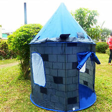 Folding Blue Knight Play Tent Kids Castle Cubby House for Boys Birthday Gift