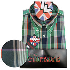 Warrior Short Sleeve Button Down Shirt KEVIN Mod Skinhead Green White Orange