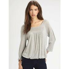 Soft Joie Jabin Pullover Heather Grey Gray Long Boatneck Gathered Top Jersey NEW