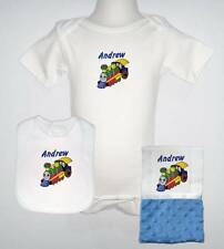 Decorated Everyday Summer Short Sleeve Blue  One Piece, Bib and Burp Cloth Set