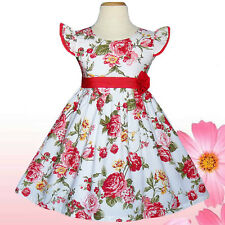 Gorgeous White Flower Red Girls Dresses Kids Clothing Party Summer Size 4T-6T