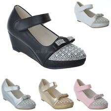 GIRLS KIDS LOW WEDGE HEEL DIAMANTE PARTY WEDDING MARY JANE SANDALS SHOES SIZE