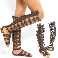 New Women's Knee High Strappy Flat Sandals open toe Gladiator caged sandals