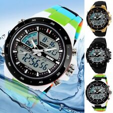 Fashion Stainless Steel Rubber Date Digital Quartz Sport Mens LED Wrist Watch