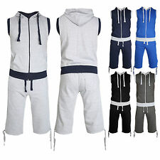 New Men's Plain Sleeveless Zip Up Fleece Hood Full Tracksuit Shorts Set S-XL