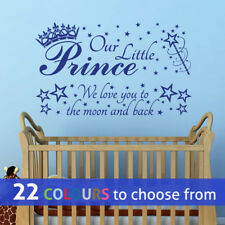 2 in 1 OUR LITTLE PRINCE we love you, moon wall sticker art decal boys nursery