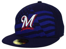 Official MLB 2015 Milwaukee Brewers July 4th Stars Stripes New Era 59FIFTY Hat