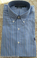 NWT Polo Ralph Lauren Men classic fit dress shirt blue white black striped $89.5