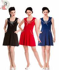HELL BUNNY HALI SAILOR nautical SUMMER MINI DRESS BLACK NAVY RED