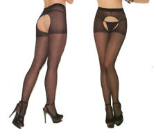Elegant Moments 1726 Sheer Nylon Pantyhose Crotchless Reg or Plus Queen Black