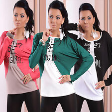 New Womens Ladies Sexy Top Jumper Blouse Sweater Size UK 8/10/12 XS/S/M Colours
