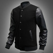 Mens Casual Baseball Jacket Coat Letterman Varsity Blazer Outerwear Uniform Tops