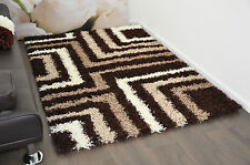 Beige & Brown Tides Modern Plain 5cm Shaggy Rugs Thick Soft Pile Area Rug Mats