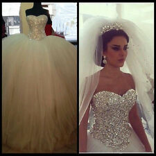 Gorgeous Crystal Sweetheart Wedding Dress Bridal Ball Gown Custom Made All Size