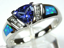 Trillion Cut Tanzanite & Blue Fire Opal Inlay 925 Sterling Silver Ring Size 6-9