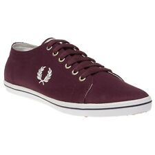 New Mens Fred Perry Maroon Kingston Twill Canvas Trainers Lace Up