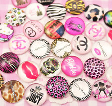 CHOOSE AMOUNT - Random Designs Glass Flat Back Cabochons Kawaii Kitsch Deco