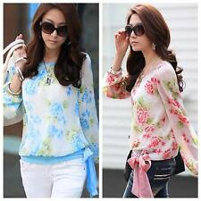 NEW Womens Chiffon Shirt Floral Print Long Sleeve Blouse Top Casual Red/Blue LS