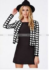 Fashion Casual Women Lady Blazer Short No-Collar Slim Jacket Suit Coat Outwear