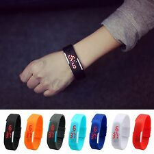 Hot Men Women Rubber Silicone Red LED Watch Sport Bracelet Digital Wristwatches