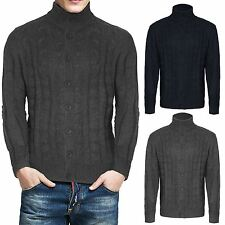 NEW MENS BUTTON UP JUMPER KNITTED CARDIGAN CABLE GRANDAD SHAWL JACQUARD WINTER