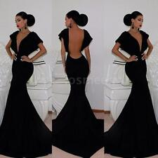Womens Dress Deep V Neck Backless Bat Sleeve Floor Length Party Evening Dress LS