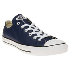 New Mens Converse Blue All Star Ox Leather Trainers Plimsolls Lace Up
