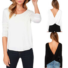 Womens Loose Casual Cotton Backless Long Sleeve Blouse Ladies Top Size10-18