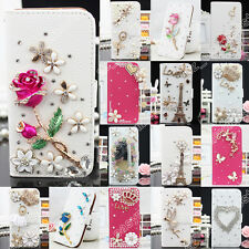 Luxury Wallet Bling Rhinestone Leather Flip Case Cover Crystal For Samsung Phone