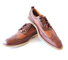 New Men's Brown Ferro Aldo Two Tone Brogue Shoes Perforation Details Block Heel
