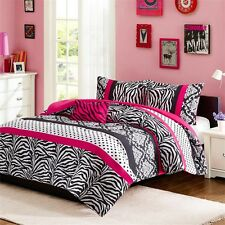 Modern Teen Bedding Girls Comforter Set Pink Black Zebra Animal Print Bedspread