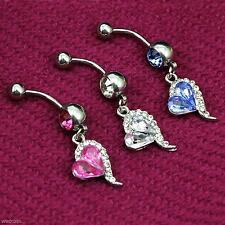 2x Rhinestone Heart Barbells Navel Belly Bar Button Rings Body Piercing Jewelry