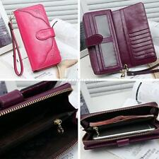 Women Genuine Real Leather Bifold Wallet Snap Credit Card Holder Coin Zip Purse