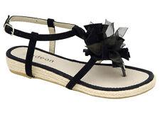 New Odeon Womens Black Flower Espadrille Thong Sandals ALL SIZES