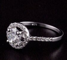 Womens 925 Sterling Silver CZ Micro Pave Solitaire Engagement Wedding Ring