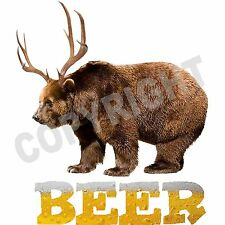 BEER T Shirt Bear Deer Funny Drinking Hangover T Shirt All Sizes Free Shipping