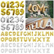 "16/40""Gold/Silver Large Foil Letter Number Balloons Birthday Wedding Party Decor"