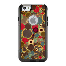 OtterBox Commuter for iPhone 5S SE 6 6S 7 Plus Brown Red Yellow Circles