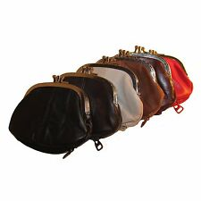 Continental Leather Double Metal Snap Kiss Lock Frame Coin Purse
