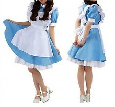 Sexy Women Ladies Costume Lolita Dresses Maid Party Fancy Outfits Blue HK