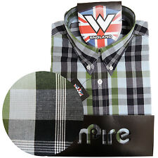 Warrior Retro Short Sleeve Button Down Shirt CROMWELL Mod Skinhead Green Blue