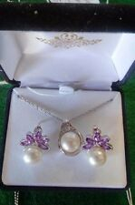 """Sterling Silver Pendant with 18"""" SS Chain and 8mm Pearl with Diamond 4.8 g"""