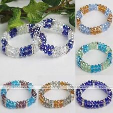 1pc Shiny Crystal Glass Faceted Abacus Bead Spacer Bracelet Bangle Women Jewelry