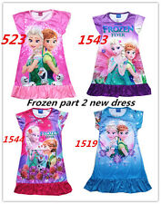 FROZEN Princess Anna Elsa Queen Girls Cosplay Costume Party Formal Dress