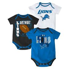 "Detroit Lions NFL ""3 Point Spread"" Infant 3 Pack Bodysuit Creeper Set"